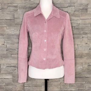 Danier pink suede leather fitted shirt